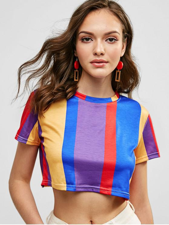 outfit Vertical Striped Crop T Shirt - MULTI XL