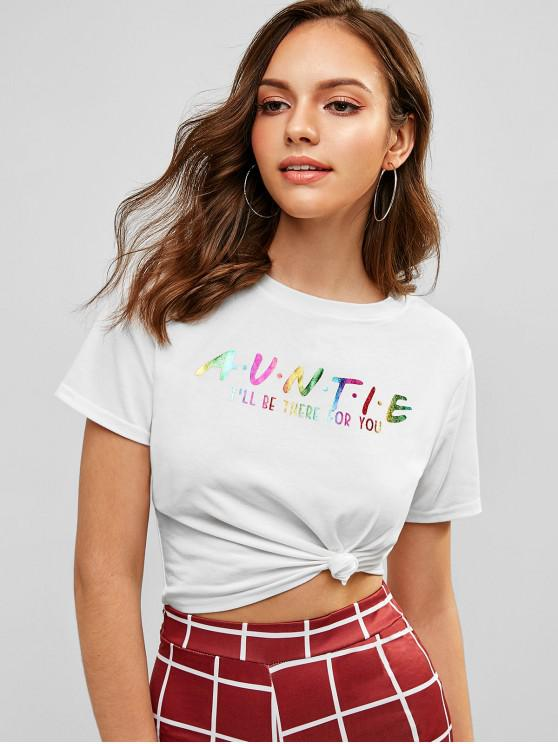 hot Cropped Rainbow Letter T Shirt - WHITE S