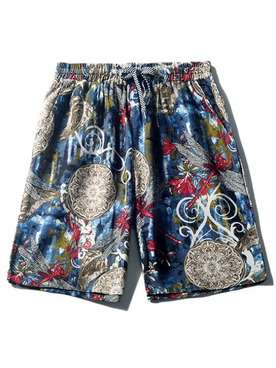 shop Floral Painting Dragonfly Print Board Shorts - BLUEBERRY BLUE M
