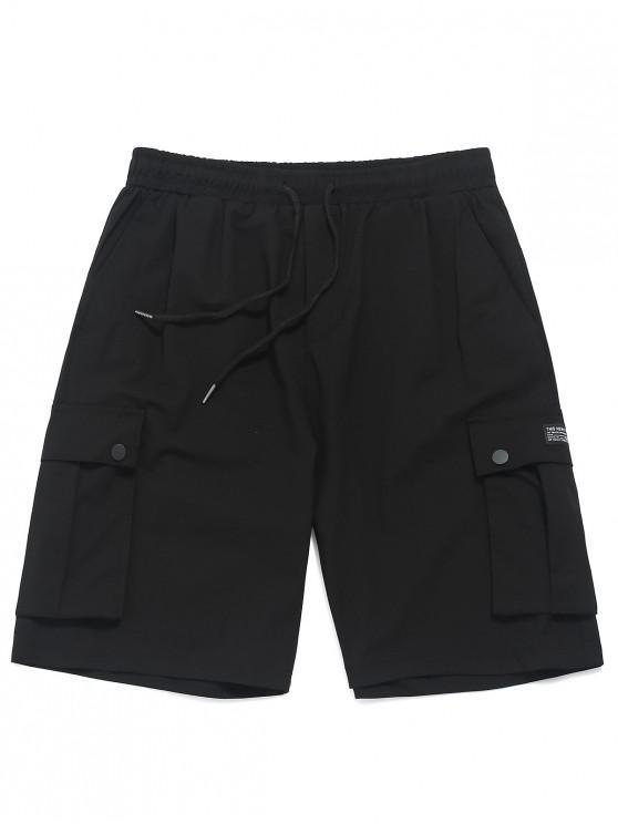 Shorts con cordón en el bolsillo con botones impresos - Negro M