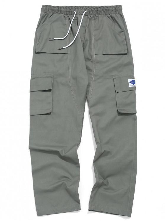 Pantalones de cordón de apliques de color liso - Gris Azulado XS
