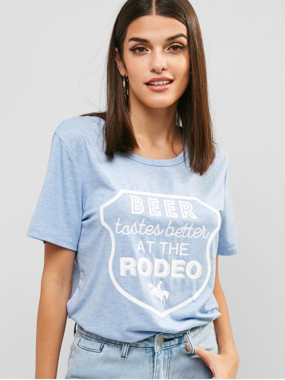 outfit Graphic Print Casual T-shirt - BLUE GRAY S