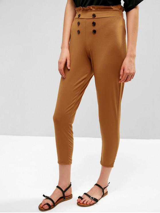 online High Waisted Ruffle Tapered Sailor Pants - LIGHT BROWN XL