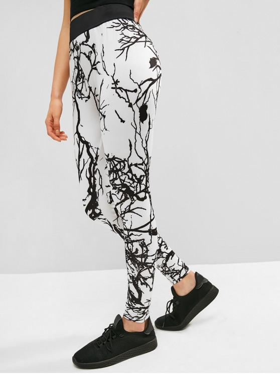 hot High Waist Marble Print Leggings - WHITE L