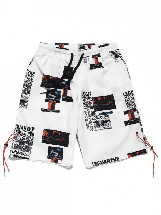 lady Letter Map Graphic Print Casual Shorts - WHITE L