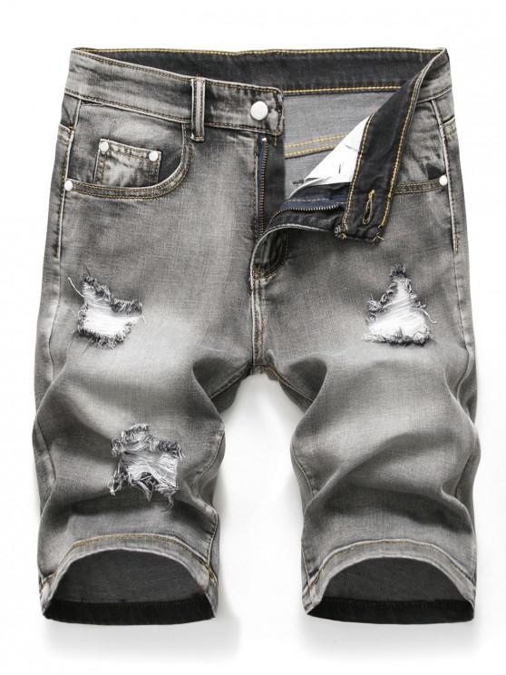 womens Zipper Fly Design Ripped Denim Shorts - LIGHT GRAY 42