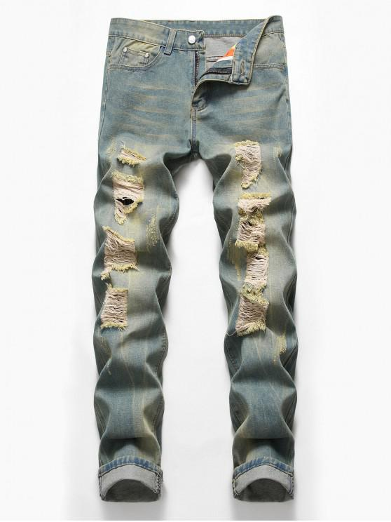 latest Zip Fly Design Ripped Casual Jeans - BLUE GRAY 42
