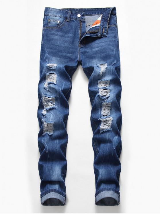 fashion Zip Fly Design Ripped Casual Jeans - DENIM DARK BLUE 40