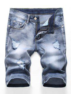 Zipper Fly Design Ripped Denim Shorts - Jeans Blue 32