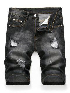 Zipper Fly Design Ripped Denim Shorts - Black 36
