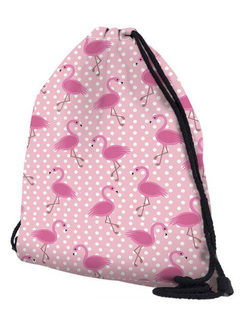 womens Polyester 3D Print String Backpack - PIG PINK  Mobile