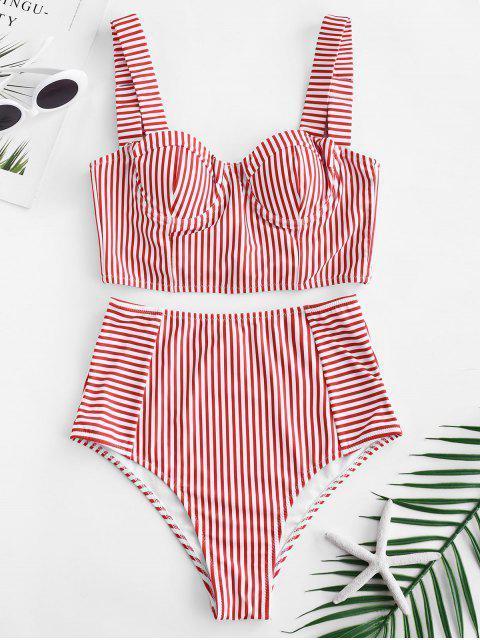 women's ZAFUL Stripe Lace-up Underwire Tankini Set - LAVA RED S Mobile
