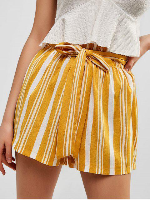 women Striped High Waist Shorts with Belt - SUN YELLOW S Mobile