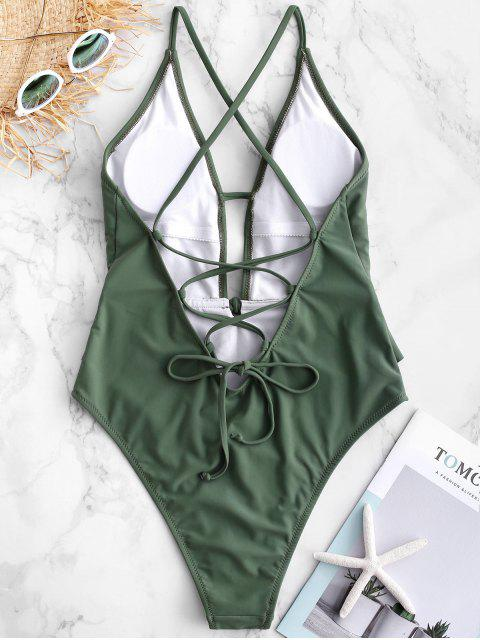 ZAFUL Ruffle Lace-up Criss Cross Swimsuit - Verde Camouflage  S Mobile