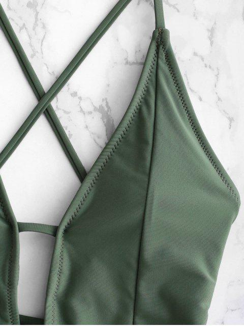 ZAFUL Ruffle Lace-up Criss Cross Swimsuit - Verde Camouflage  L Mobile