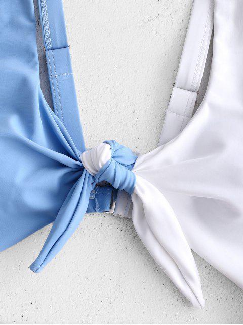 ZAFUL Knot Color Block Cut Out traje de baño - Rosado S Mobile