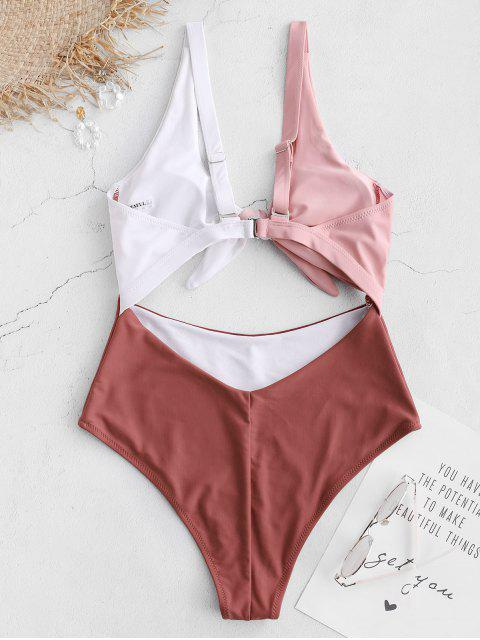 outfit ZAFUL Knot Color Block Cut Out Swimsuit - CHESTNUT RED XL Mobile