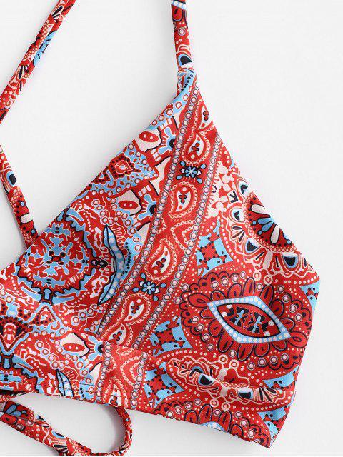ZAFUL Богемный стиль Цветочный принт На шнуровке Ками Бикини в сборе - Многоцветный-A M Mobile