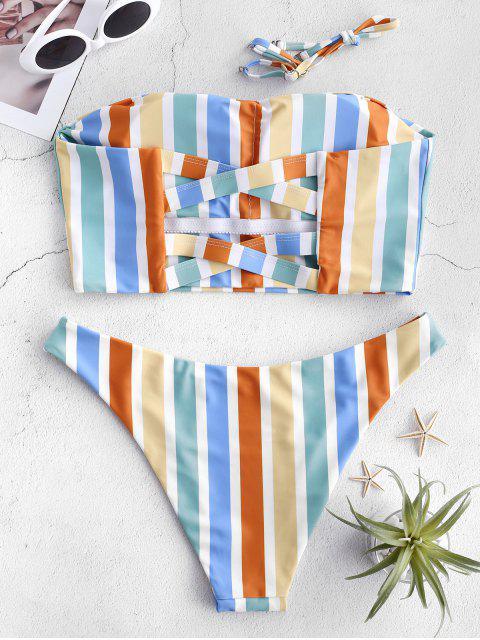 fancy ZAFUL Crisscross Colorful Striped Bandeau Bikini Set - MULTI-A M Mobile