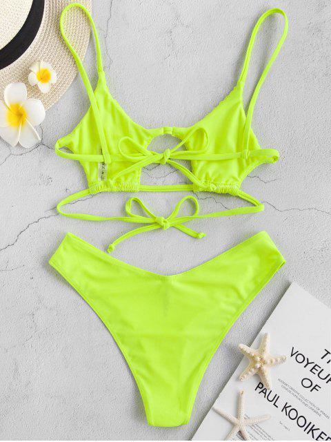 fashion ZAFUL Shirred Strappy Neon Bikini Set - GREEN YELLOW M Mobile
