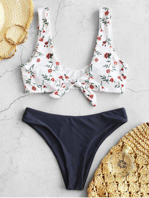 sale ZAFUL Knot Floral Bikini Set - MIST BLUE L Mobile