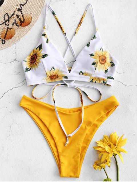 Bikini de girasol cruzado de ZAFUL - Caucho Ducky Amarillo M Mobile