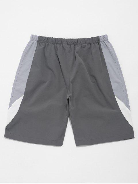 sale Color Block Splicing Drawstring Casual Shorts - BLUE GRAY S Mobile