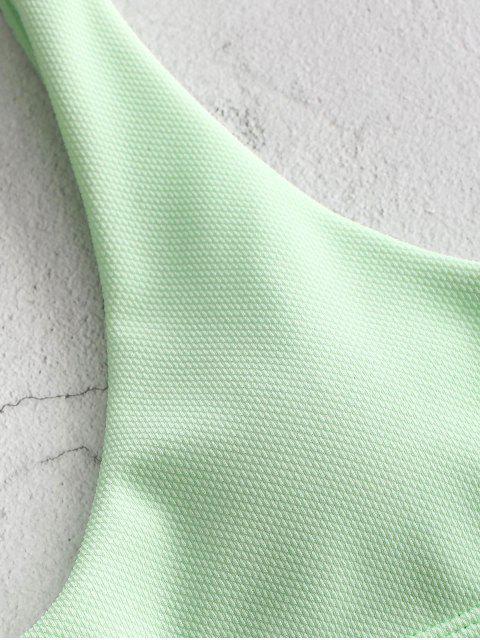 sale ZAFUL Textured Tank Bikini Set - MINT GREEN L Mobile