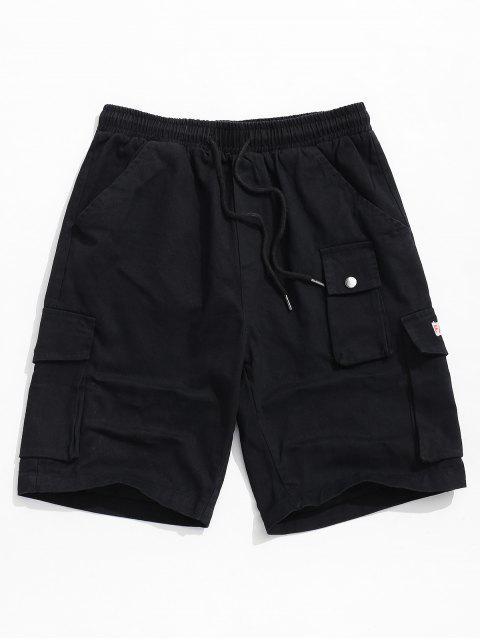 Shorts casuales elásticos multibolsillos en color liso - Negro M Mobile