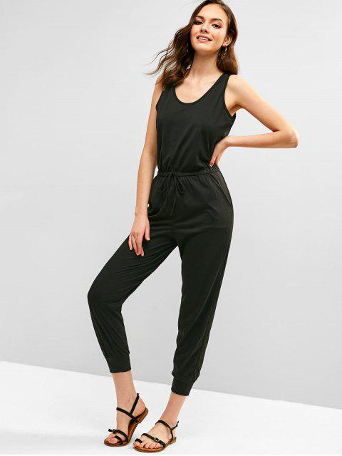 shop ZAFUL Casual Sleeveless Jumpsuit - BLACK S Mobile