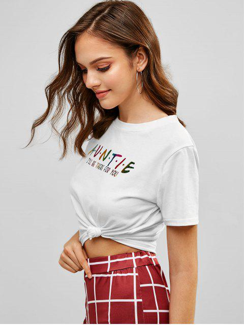 women Cropped Rainbow Letter T Shirt - WHITE L Mobile