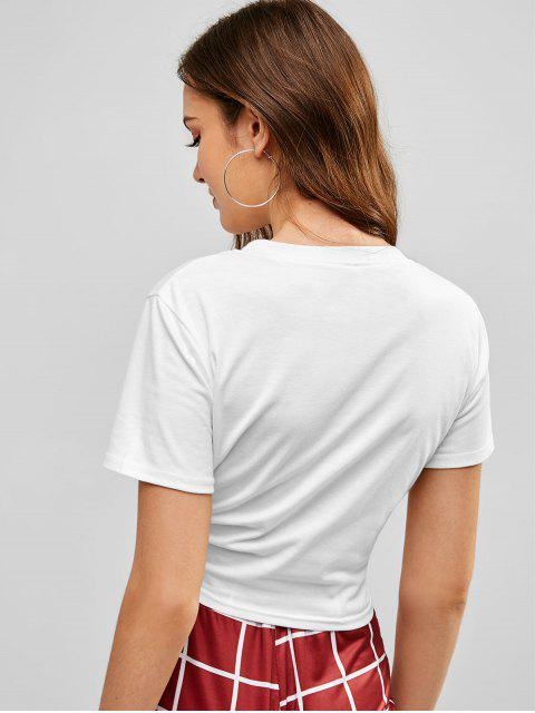 hot Cropped Rainbow Letter T Shirt - WHITE S Mobile