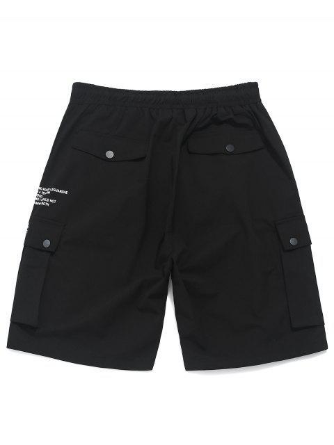 Shorts con cordón en el bolsillo con botones impresos - Negro S Mobile