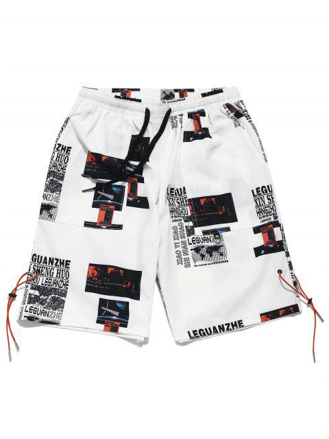 lady Letter Map Graphic Print Casual Shorts - WHITE L Mobile