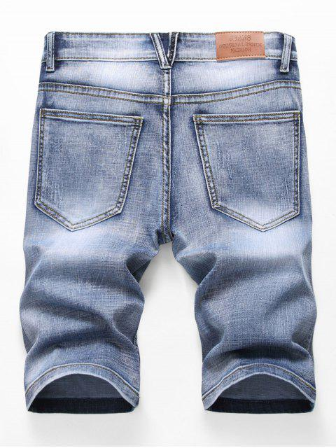 chic Zipper Fly Design Ripped Denim Shorts - JEANS BLUE 32 Mobile