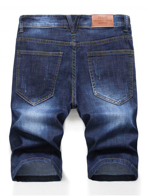 women's Zipper Fly Design Ripped Denim Shorts - DENIM DARK BLUE 38 Mobile
