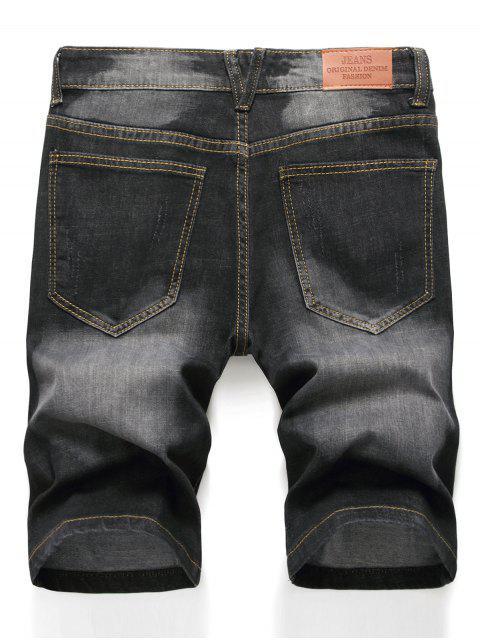trendy Zipper Fly Design Ripped Denim Shorts - BLACK 34 Mobile