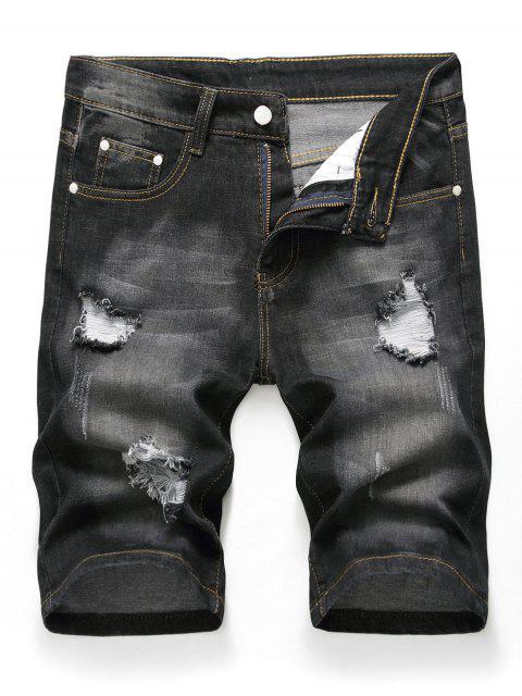 lady Zipper Fly Design Ripped Denim Shorts - BLACK 42 Mobile