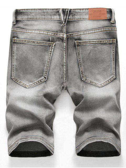 womens Zipper Fly Design Ripped Denim Shorts - LIGHT GRAY 42 Mobile