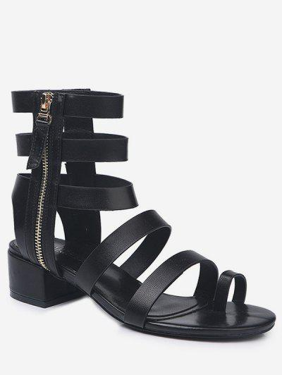 4ba7919241e0 Toe Loop Low Heel Gladiator Sandals - Black Eu 36 ...