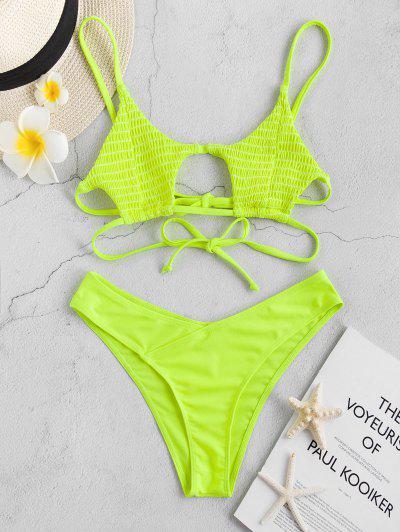 ZAFUL Conjunto De Bikini De Neón Con Tirantes Fruncido - Verde Amarillo M