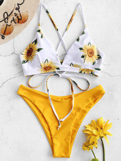 b6ef4c6a08 ZAFUL Sunflower Criss Cross Bikini Set - Rubber Ducky Yellow M ...