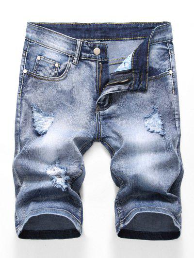 Zipper Fly Design Ripped Denim Shorts - Jeans Blue 32