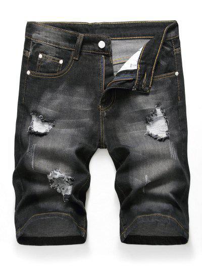 Zipper Fly Design Ripped Denim Shorts - Black 34