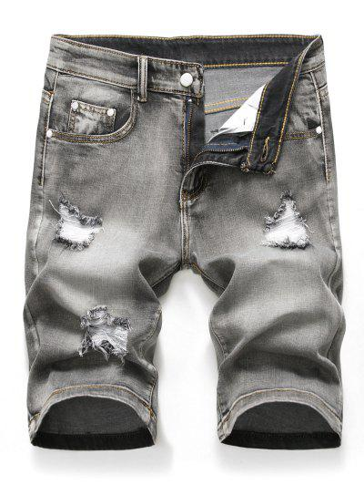 Zipper Fly Design Ripped Denim Shorts - Light Gray 32