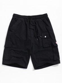 الصلبة اللون متعددة جيب السراويل عارضة مرنة - أسود M