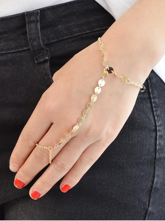 women Beach Round Finger Loop Bracelet - GOLD