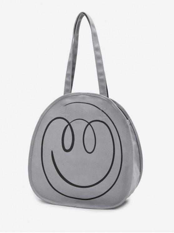 trendy Canvas Smile Pattern Casual Shoulder Bag - BLUE GRAY