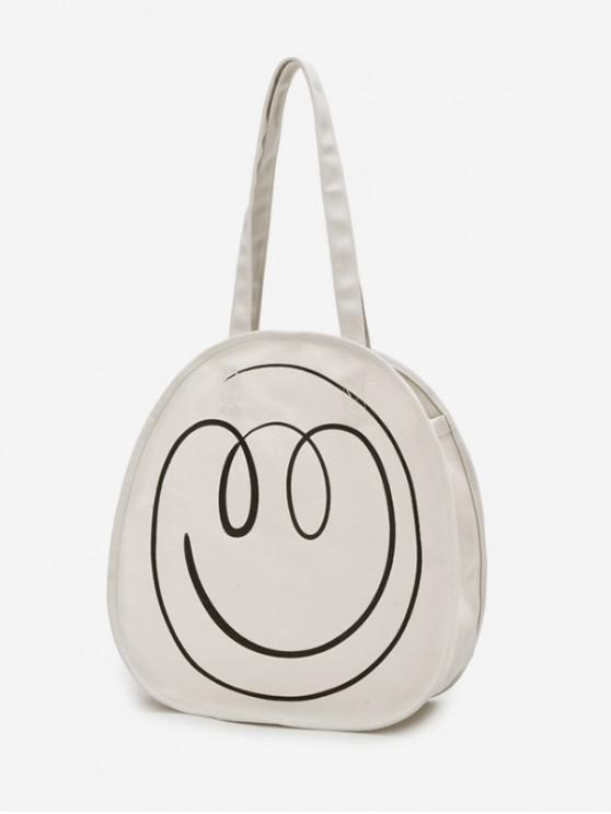 latest Canvas Smile Pattern Casual Shoulder Bag - WARM WHITE