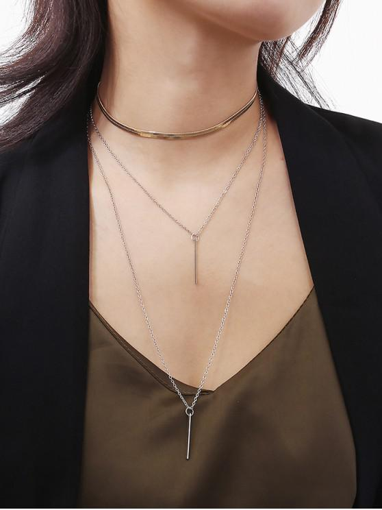 women Brief Geometry Layered Necklace - SILVER